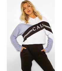 tall korte colour block 'cali' hoodie, blauw