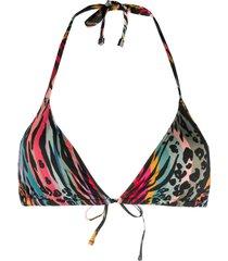 paul smith animal-print triangle bikini top - green