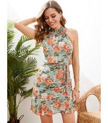 yoins verde halter estampado floral fruncido fruncido sin mangas mini vestido