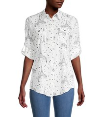 karl lagerfeld paris women's whimsical-print blouse - soft white combo - size s