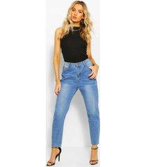 high waist mom jeans, mid blue