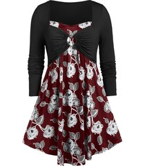 plus size floral print ruched o ring t-shirt