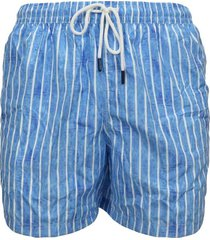 men's blue boxer swimsuit with white stripes