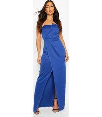 bandeau wrap detail split maxi bridesmaid dress, cobalt