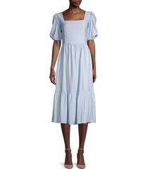 lea & viola women's square-neck puff-sleeve dress - blue - size xs