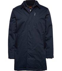 twill coat w detachable collar parka jacka blå lindbergh