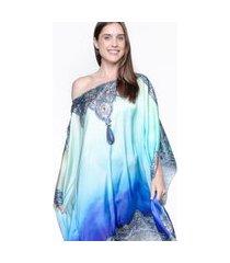 kaftan 101 resort wear vestido crepe cetim estampado tie dye joias