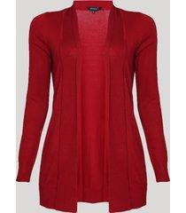 capa feminina alongada em tricô vermelho