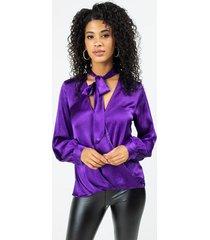 kelsea surplice front tie blouse - purple