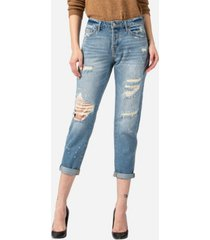 vervet women's distressed paint splatter boyfriend jeans