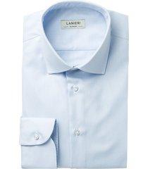 camicia da uomo su misura, thomas mason, traveller azzurra, quattro stagioni | lanieri