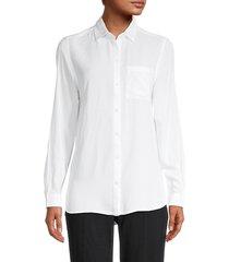 beach lunch lounge women's rya long-sleeve shirt - white - size xs