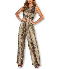 ax paris women's snake print jumpsuit with knot front