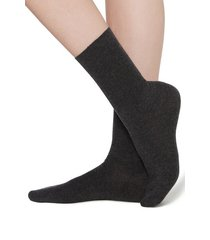 calzedonia short socks in cotton with cashmere woman grey size 39-41