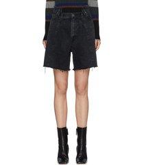 displaced waistband midi denim shorts