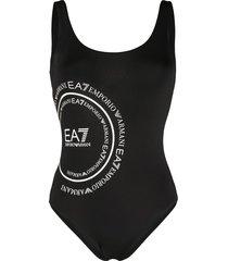 ea7 emporio armani logo print one-piece swimsuit - black