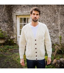 men's malin handknit aran cardigan cream s
