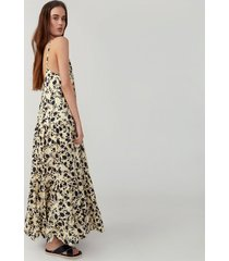 silhouette pale yellow tiered trapeze dress