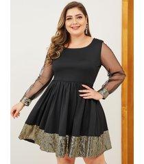 plus talla patchwork de malla con adornos de lentejuelas negras vestido