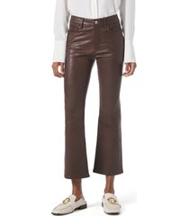 women's frame le crop mini boot leather pants, size 24 - burgundy