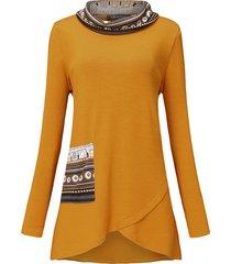 camicetta a maniche lunghe irregolare collo alto patchwork stampa etnica