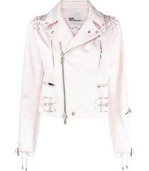 comme des garçons noir kei ninomiya lace-up detail biker jacket - pink