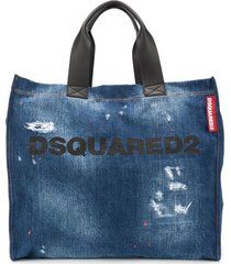dsquared2 distressed denim logo tote - blue
