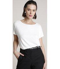 blusa feminina básica ampla flamê manga curta decote redondo bege