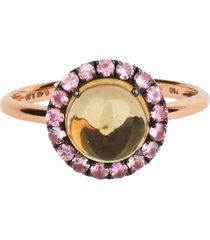 18kt gold round cabochon ring