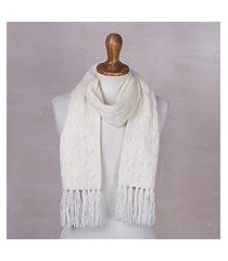 cable knit scarf, 'soft winter white' (peru)