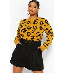 plus gebreide luipaardprint trui, mosterd