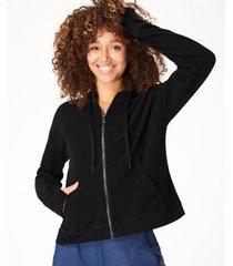 sanctuary luxe fleece zip through hoodie