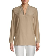 adri long-sleeve silk blouse