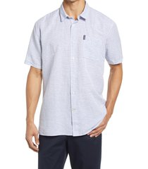 barbour stripe short sleeve linen & cotton button-up shirt, size large in sky at nordstrom