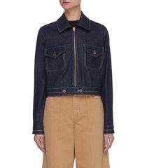 rainbow stitch zip up denim jacket