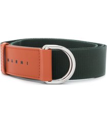 marni two-tone d ring belt - green