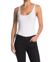 women's bp. double scoop stretch cotton bodysuit, size large - white