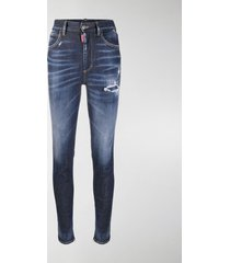 dsquared2 distressed zipped ankle skinny trousers
