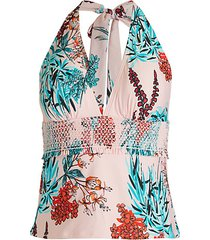 garden smocked tankini top