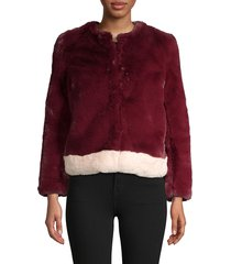 saks fifth avenue women's faux-fur jacket - burgundy - size m/l