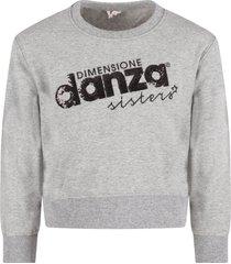 dimensione danza grey girl sweatshirt with sequined logo