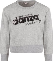 dimensione danza grey sweatshirt for girl with sequined logo