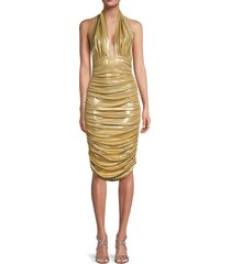 norma kamali women's ruched plunging bodycon dress - gold - size xxs