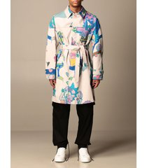gcds coat gcds trench coat in cotton with rick & morty print