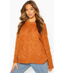 all over cable knit longline sweater, cinnamon