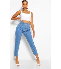 mid rise boyfriend jeans, middenblauw