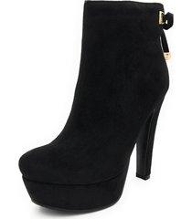 women's ankle high boots fashion solid suede zipper platform block heel booties
