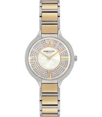 kenneth cole new york women's two tone stainless steel bracelet watch, 33mm