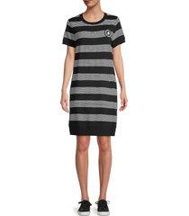 karl lagerfeld paris women's striped t-shirt dress - black grey - size m