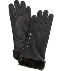 koolaburra by ugg studded gloves with faux fur cuff